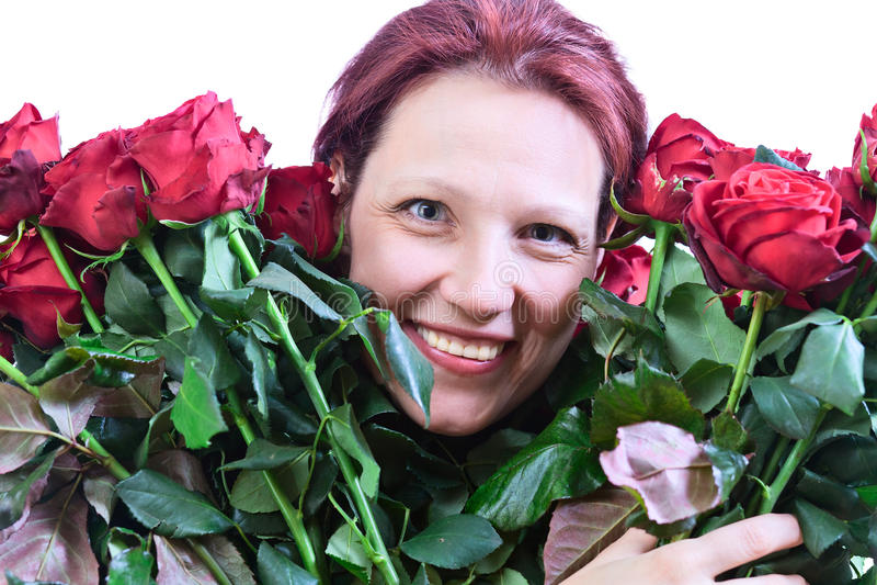 Download Vrouw Met Een Boeket Van Rode Rozen Stock Foto - Afbeelding bestaande uit schoonheid, volwassen: 29507006