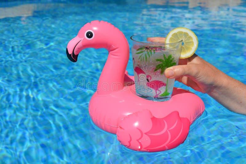 Vrouw met een drank in de pool stock foto