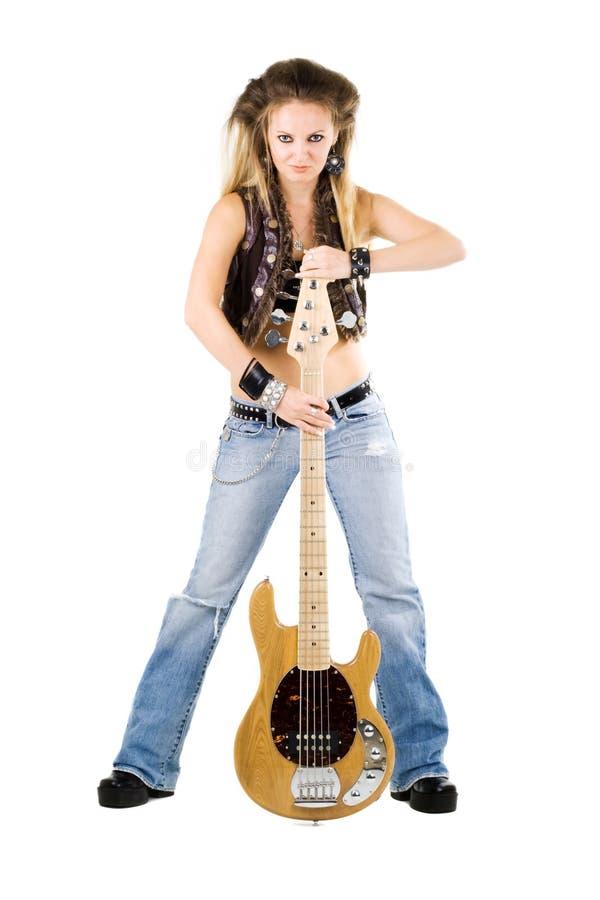 Vrouw met een gitaar royalty-vrije stock fotografie
