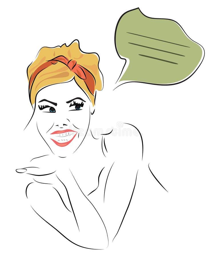 Vrouw met een het Spreken Wolk stock illustratie