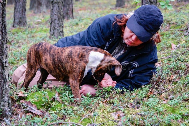 Vrouw met een hond die in het hout rusten royalty-vrije stock afbeelding