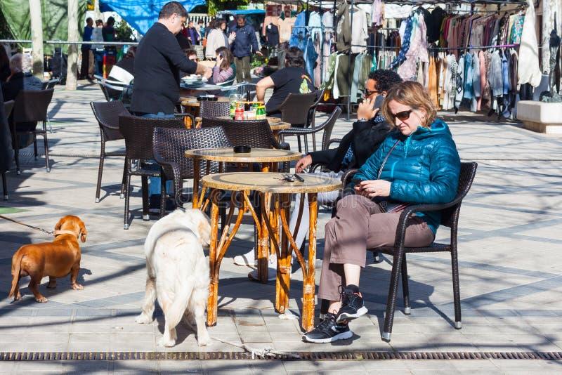Vrouw met een hondzitting op het terras van de bar in Esporles, Mallorca, Spanje royalty-vrije stock foto