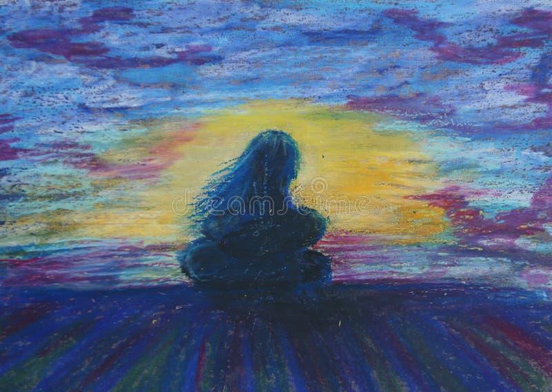 Vrouw met een kind op een kust stock illustratie