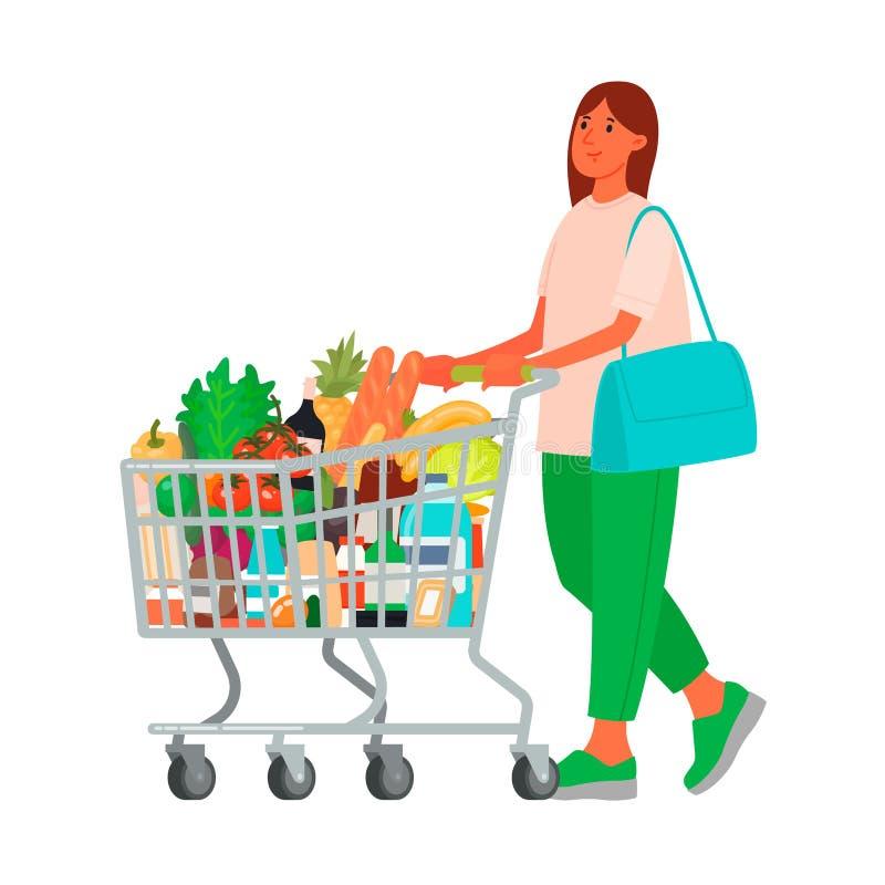 Vrouw met een kruidenierswinkelkar in de supermarkt Kopend Voedsel Klant bij een kruidenierszaakopslag vector illustratie