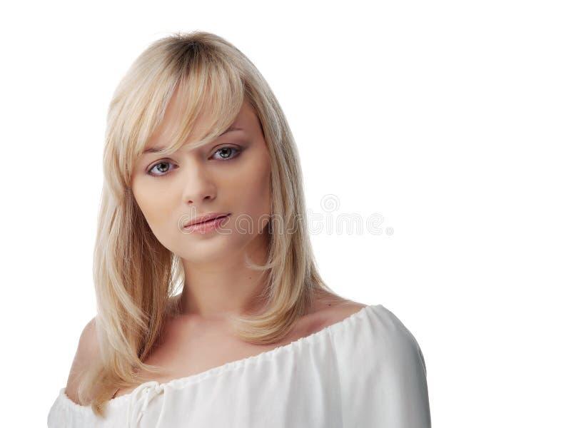 Vrouw met een leuk het glimlachen gezicht stock foto's