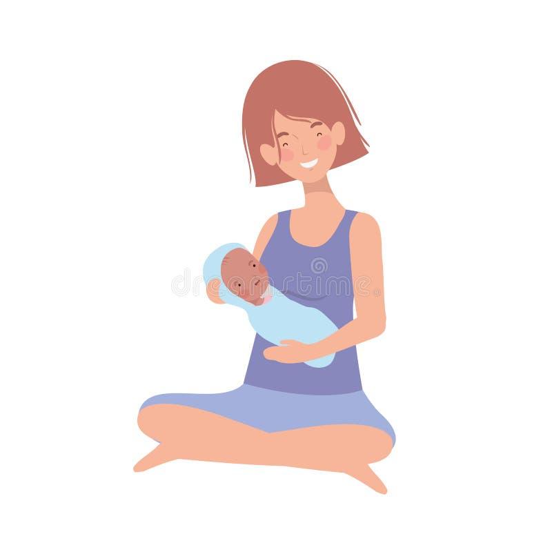 Vrouw met een pasgeboren baby in haar wapens royalty-vrije illustratie
