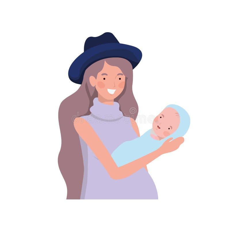 Vrouw met een pasgeboren baby in haar wapens vector illustratie