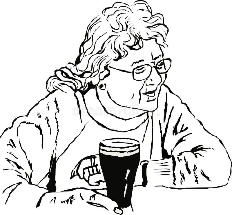 Vrouw met een pint stock illustratie