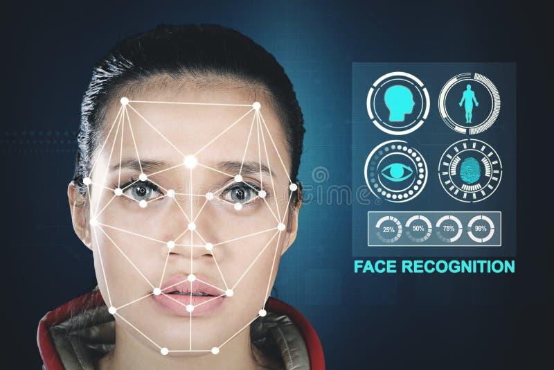 Vrouw met een technologie van de nieuw gezichtserkenning stock afbeeldingen