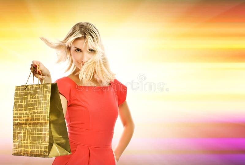 Vrouw met een zak royalty-vrije stock foto's