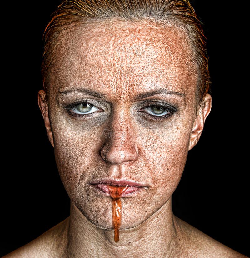 Vrouw met Extreme depressie stock afbeelding