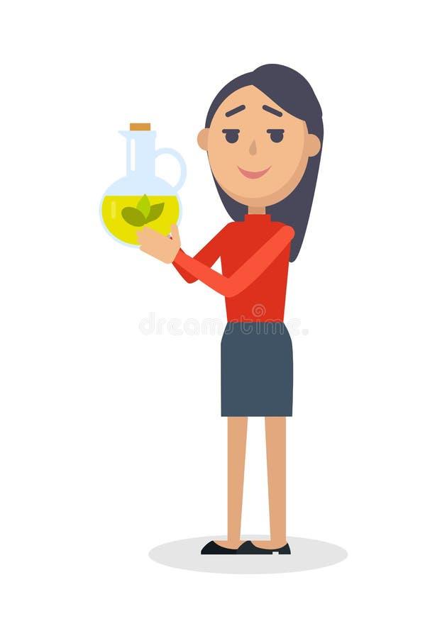 Vrouw met Fles van Maagdelijke Olive Oil Flat Vector stock illustratie