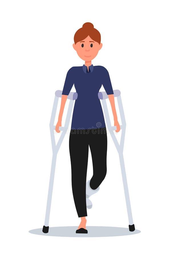 Vrouw met gebroken been vlakke vectorillustratie royalty-vrije illustratie