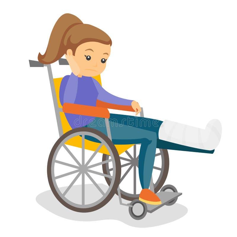 Vrouw met gebroken beenzitting in een rolstoel royalty-vrije illustratie