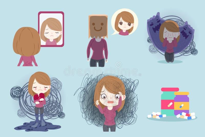 Vrouw met gedeprimeerd probleem vector illustratie