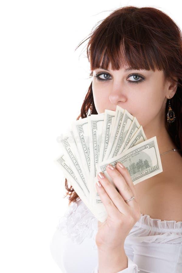 Vrouw met geld royalty-vrije stock afbeeldingen