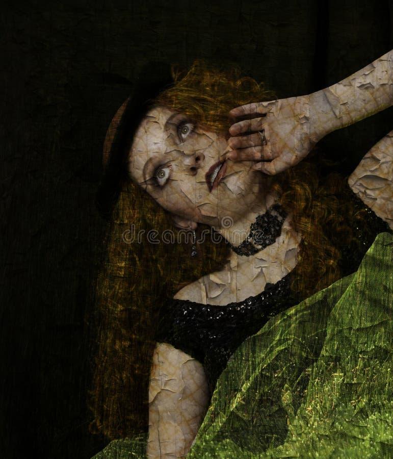 Vrouw met geweven huid stock afbeelding