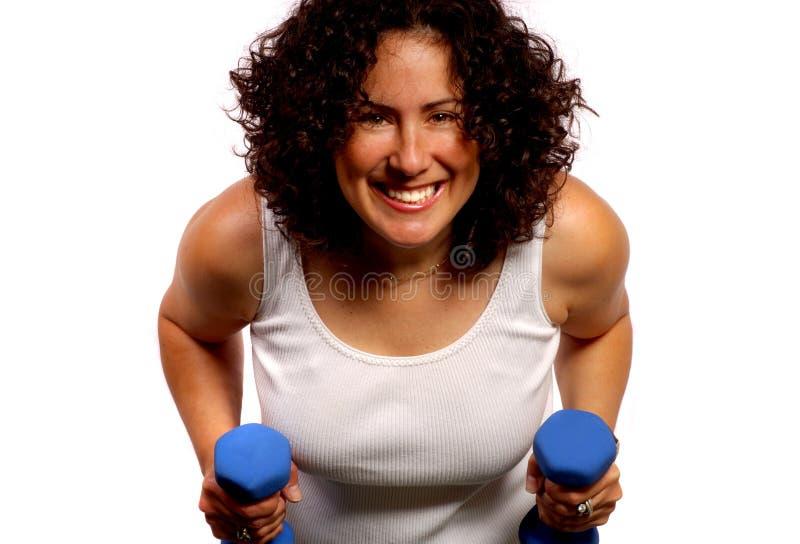 Vrouw met Gewichten royalty-vrije stock foto