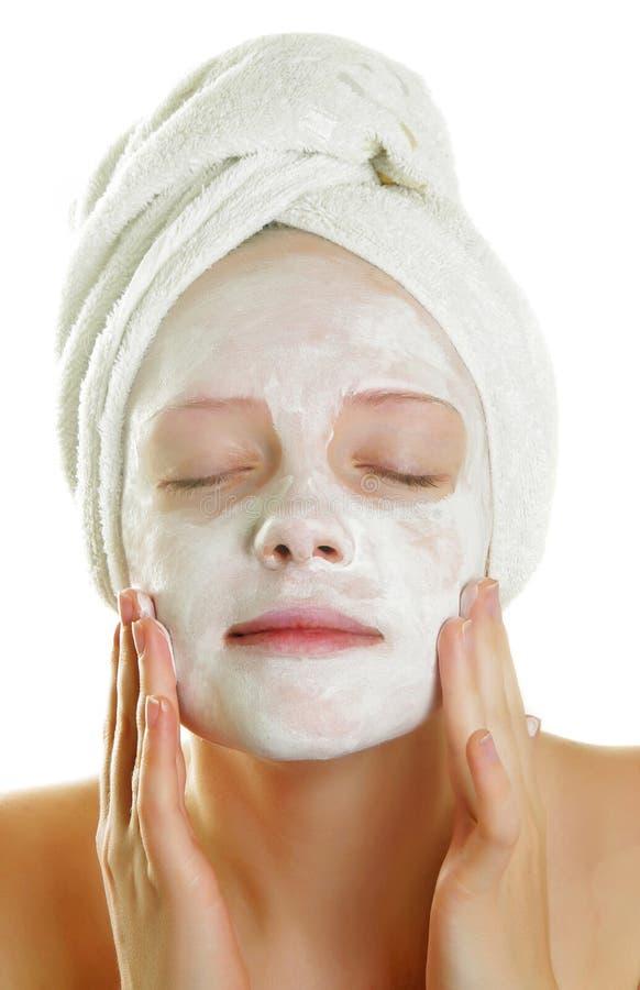 Vrouw met gezichtsmasker royalty-vrije stock fotografie