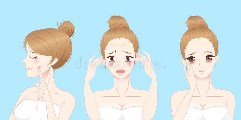 Vrouw met gezichtsprobleem royalty-vrije stock afbeelding