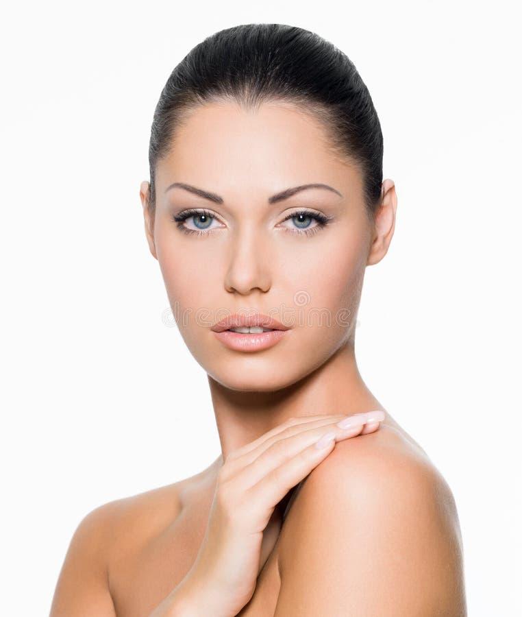 Vrouw met gezond gezicht royalty-vrije stock foto