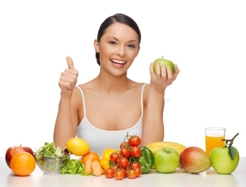 Vrouw met gezond voedsel royalty-vrije stock fotografie