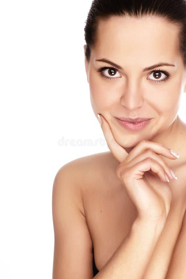 Vrouw met gezondheidshuid van gezicht royalty-vrije stock fotografie