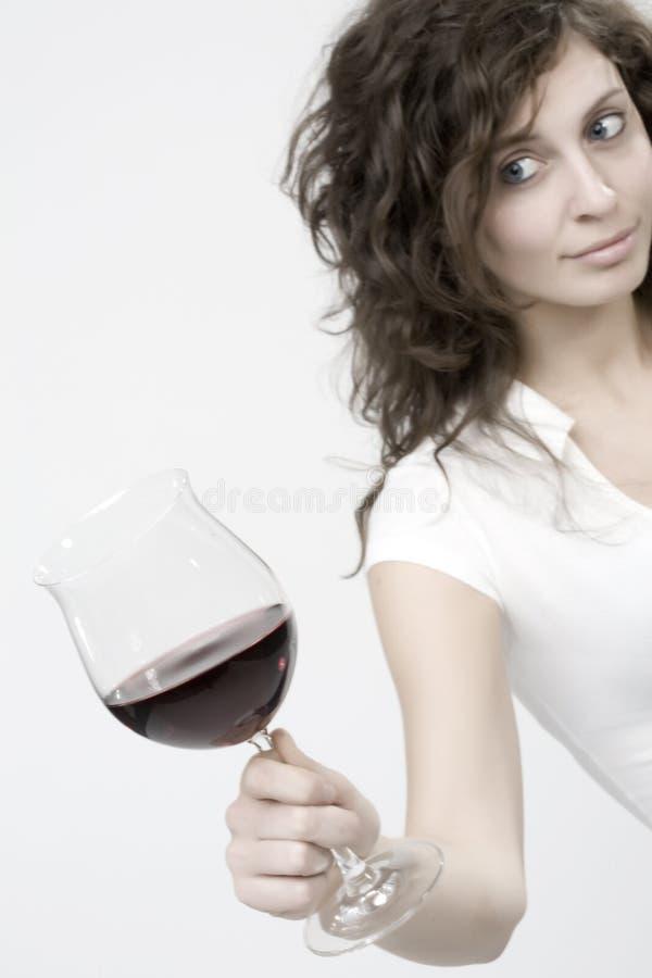 Vrouw met glas stock afbeeldingen