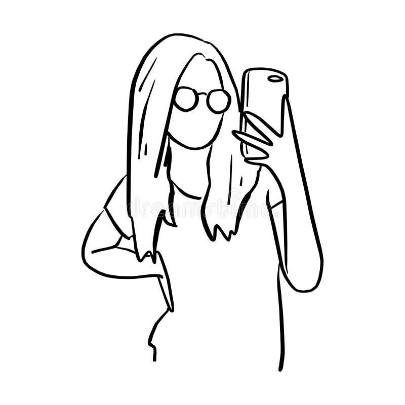 Vrouw met glazen die foto met mobiele telefoonvector illustr nemen royalty-vrije illustratie