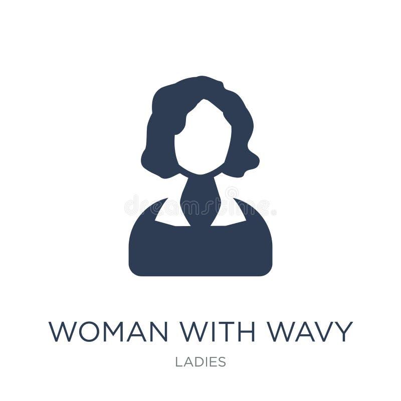 Vrouw met Golvend Haarpictogram In vlakke vectorvrouw met Golvend Ha stock illustratie
