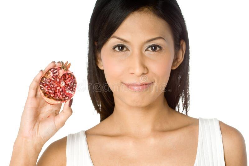 Vrouw met Granaatappel stock fotografie