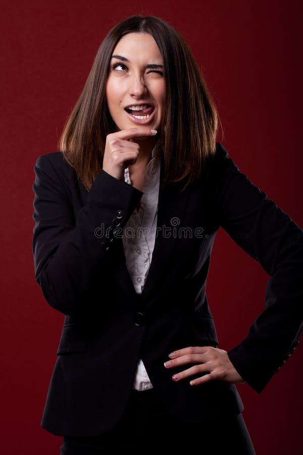 Vrouw met grappige uitdrukking royalty-vrije stock foto's