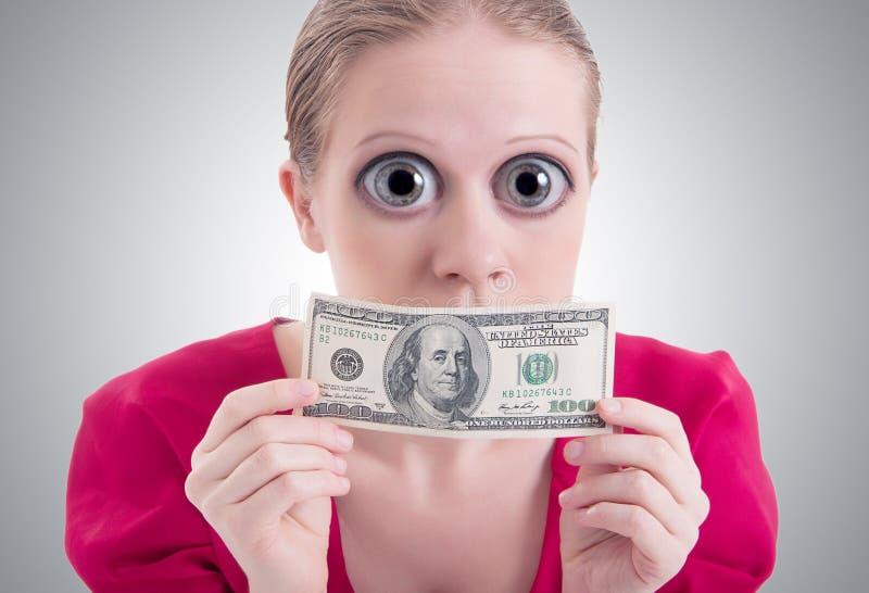 Vrouw Met Grote Ogen En Mond Gesloten Dollar Royalty-vrije Stock Afbeelding