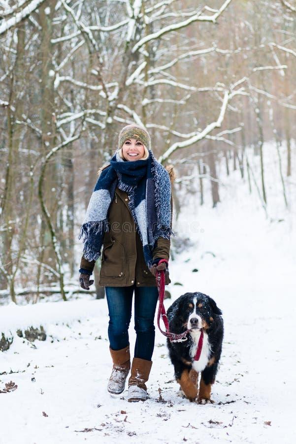 Vrouw met haar hond die of in de winter wandelen lopen royalty-vrije stock afbeeldingen