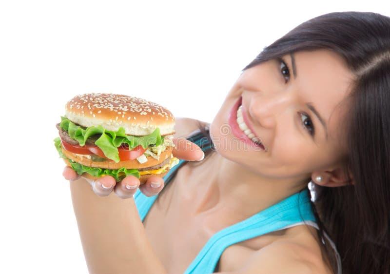 Vrouw met hamburgersandwich royalty-vrije stock foto