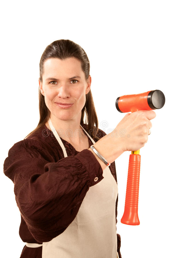 Vrouw met hamer royalty-vrije stock foto's