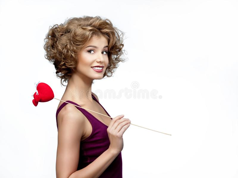 Vrouw met hart stock foto