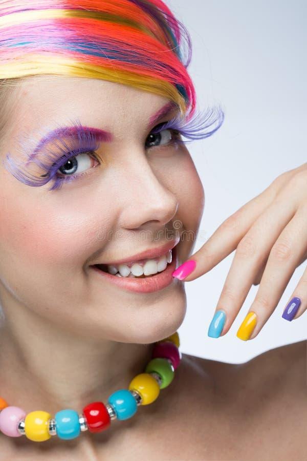 Vrouw met heldere make-up stock afbeeldingen
