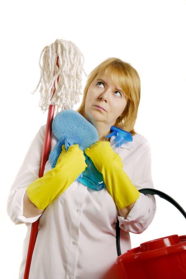 Vrouw met het schoonmaken van hulpmiddelen royalty-vrije stock foto's