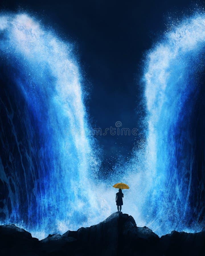 Vrouw met het verdelen van oceaan stock afbeelding
