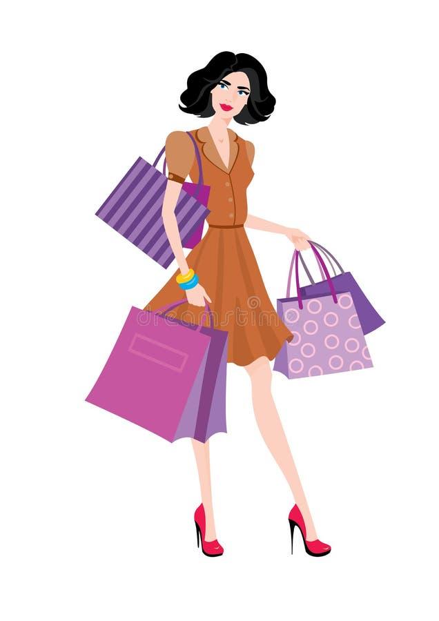 Vrouw met het in winkelen vector illustratie