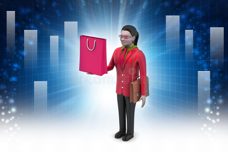 Vrouw met het winkelen zak stock illustratie