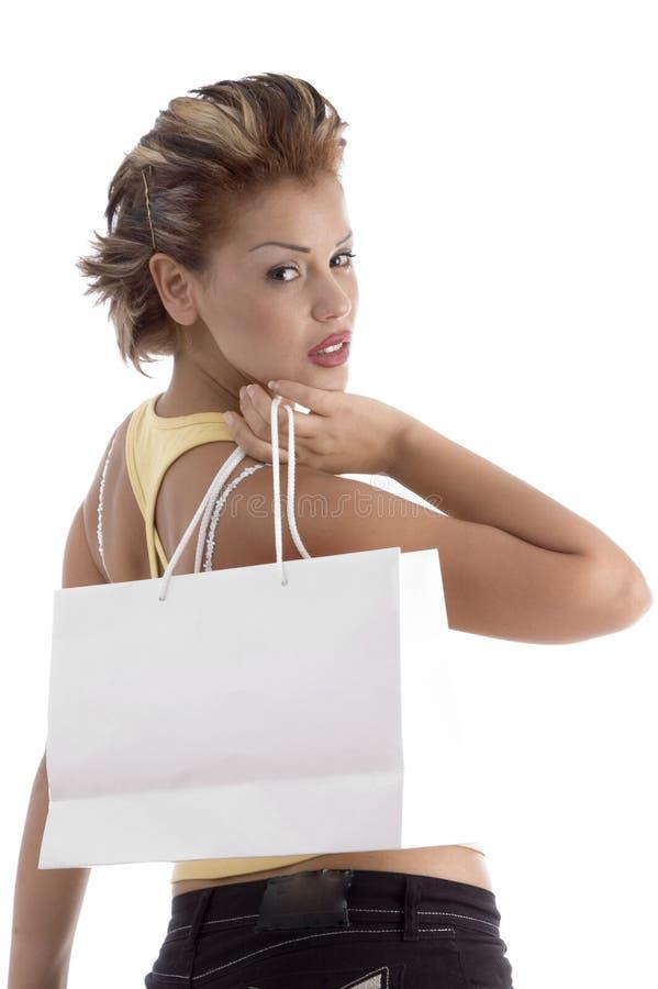 Vrouw met het winkelen zak royalty-vrije stock foto's