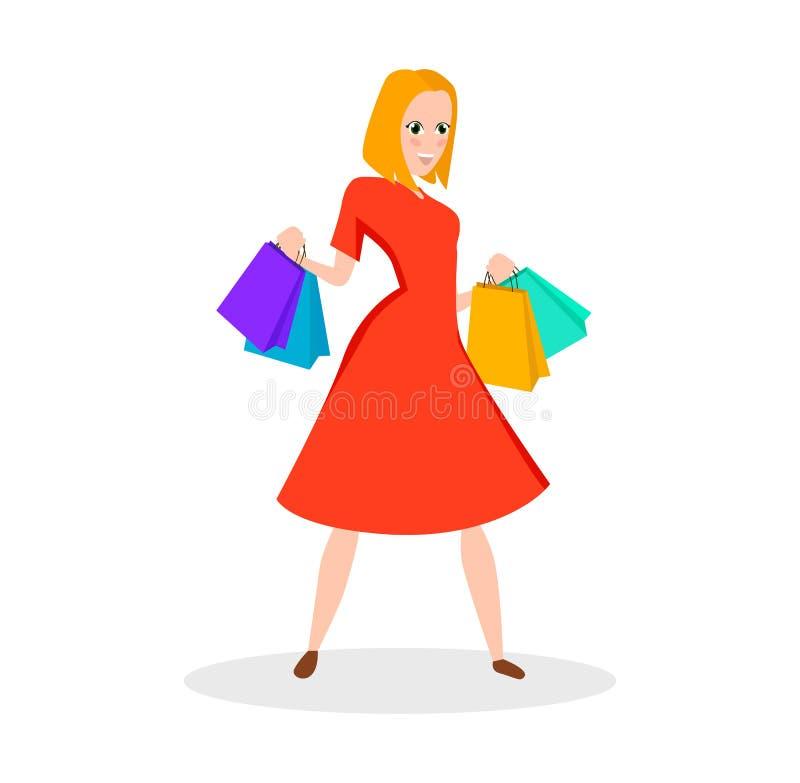 Vrouw met het winkelen zakken vector illustratie