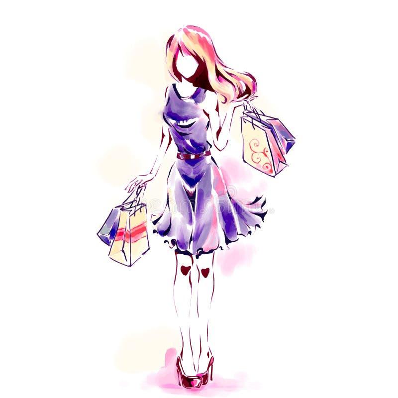 Vrouw met het winkelen zakken, waterverfillustraties royalty-vrije illustratie