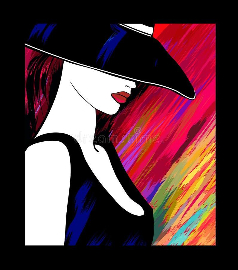Vrouw met hoed op kleurrijke achtergrond royalty-vrije illustratie