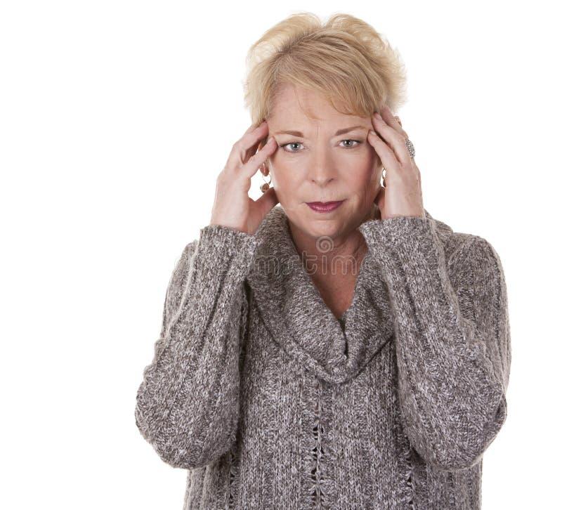 Vrouw met hoofdpijn royalty-vrije stock foto