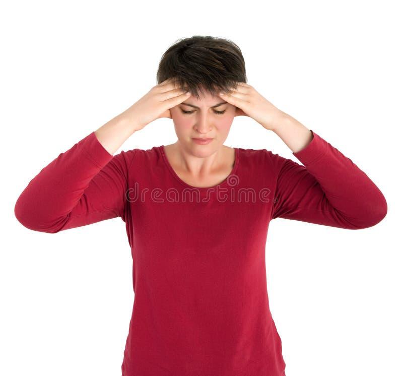Vrouw met hoofdpijn stock foto's