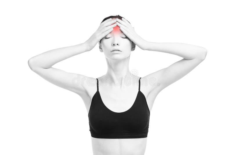 Vrouw met hoofdpijn Pijn in het menselijke die lichaam op witte achtergrond wordt geïsoleerd stock foto's