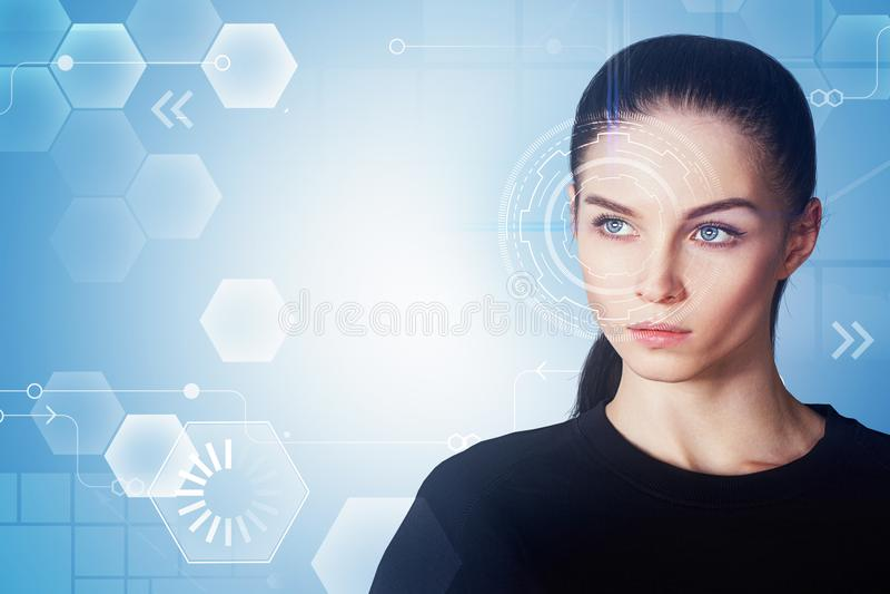 Vrouw met interface royalty-vrije stock foto